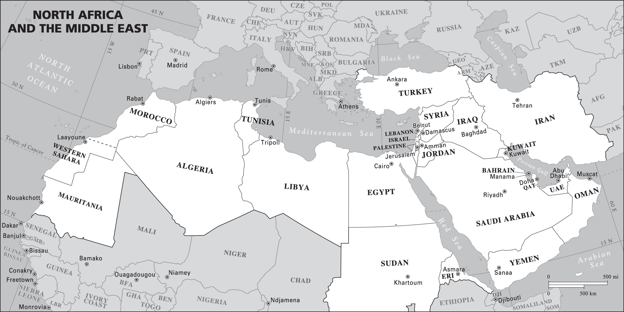 middle east and africa map vector