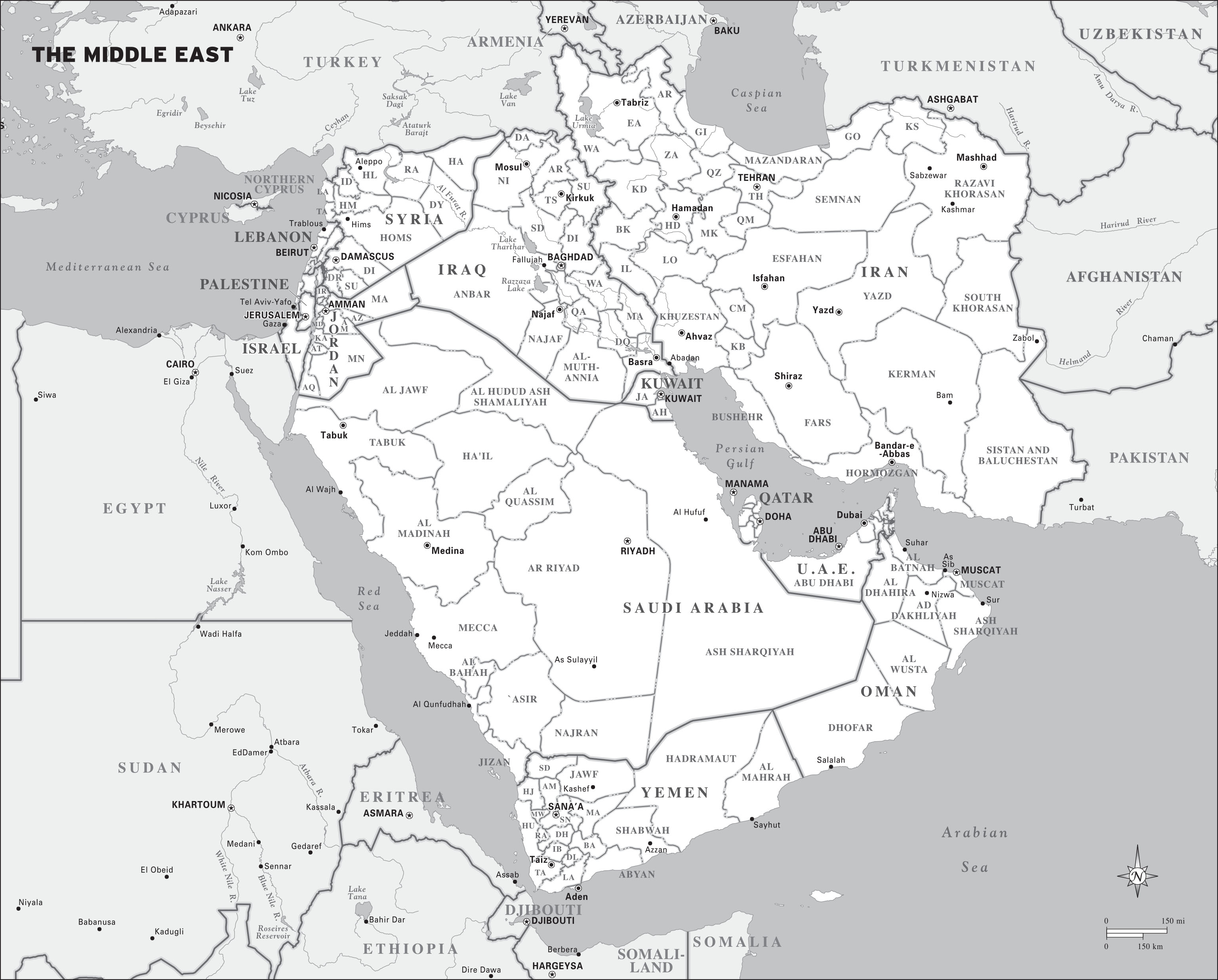 Middle East Road Map Map of The Middle-east